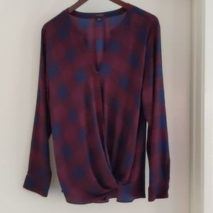 Blue and Red Plaid Ann Taylor Blouse